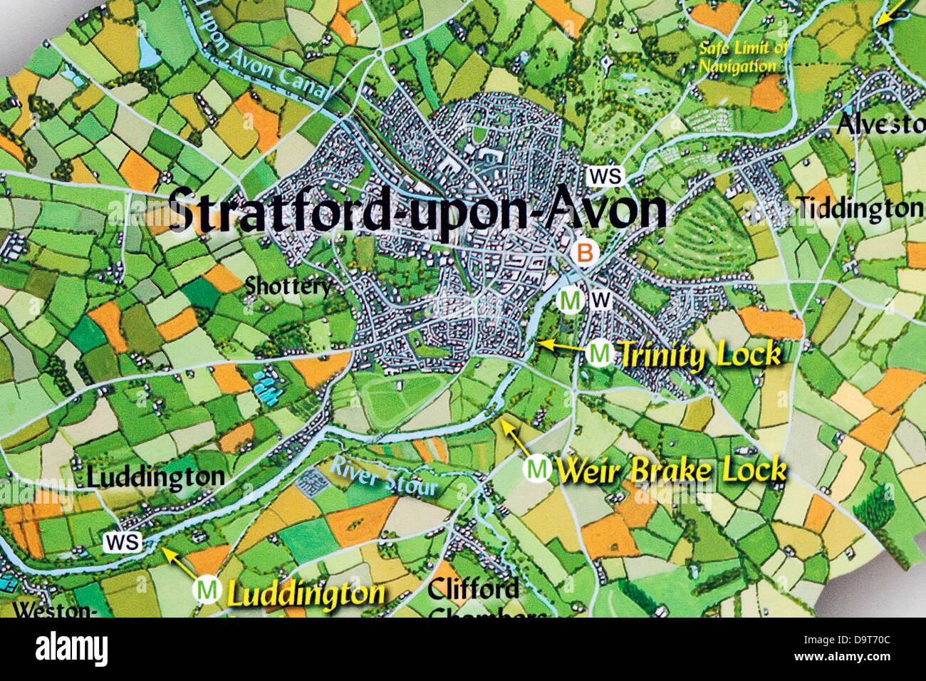 A Navigation map of Stratford upon Avon - Stock Image