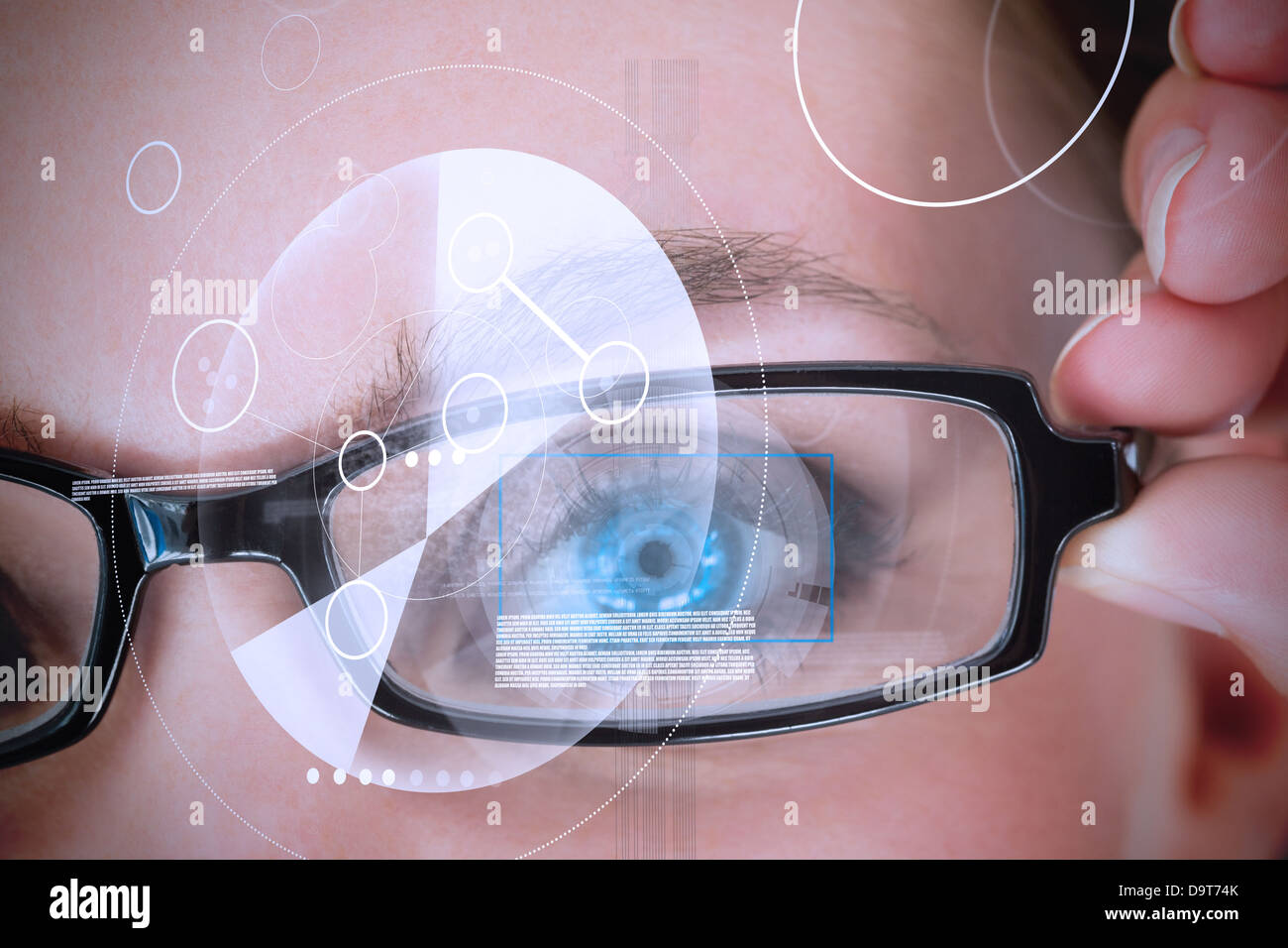 Womans eye being scanned for authorization - Stock Image