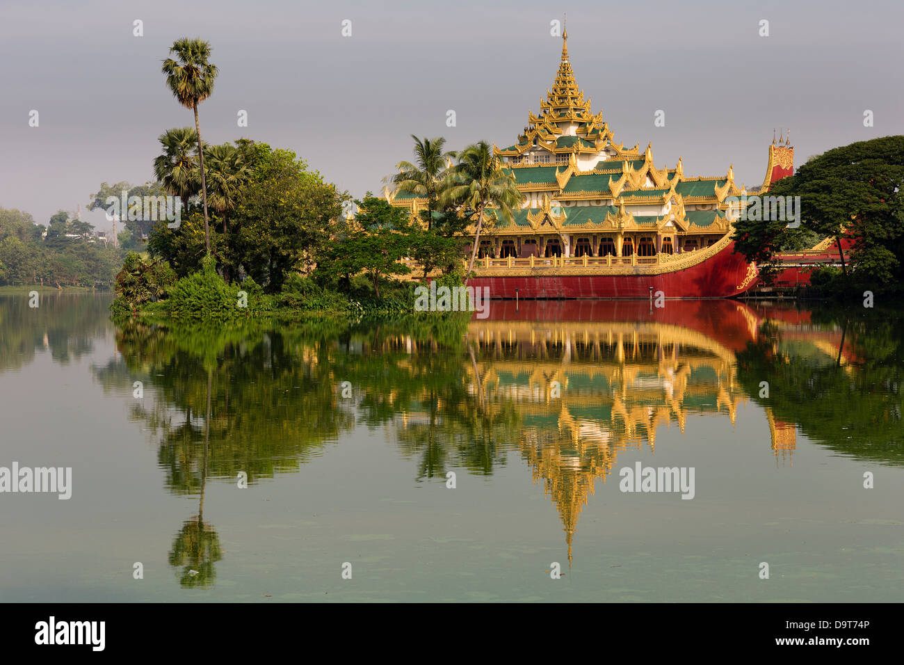 The Karaweik, Kandawgyi Lake, Yangon, Myanmar (Burma) Stock Photo
