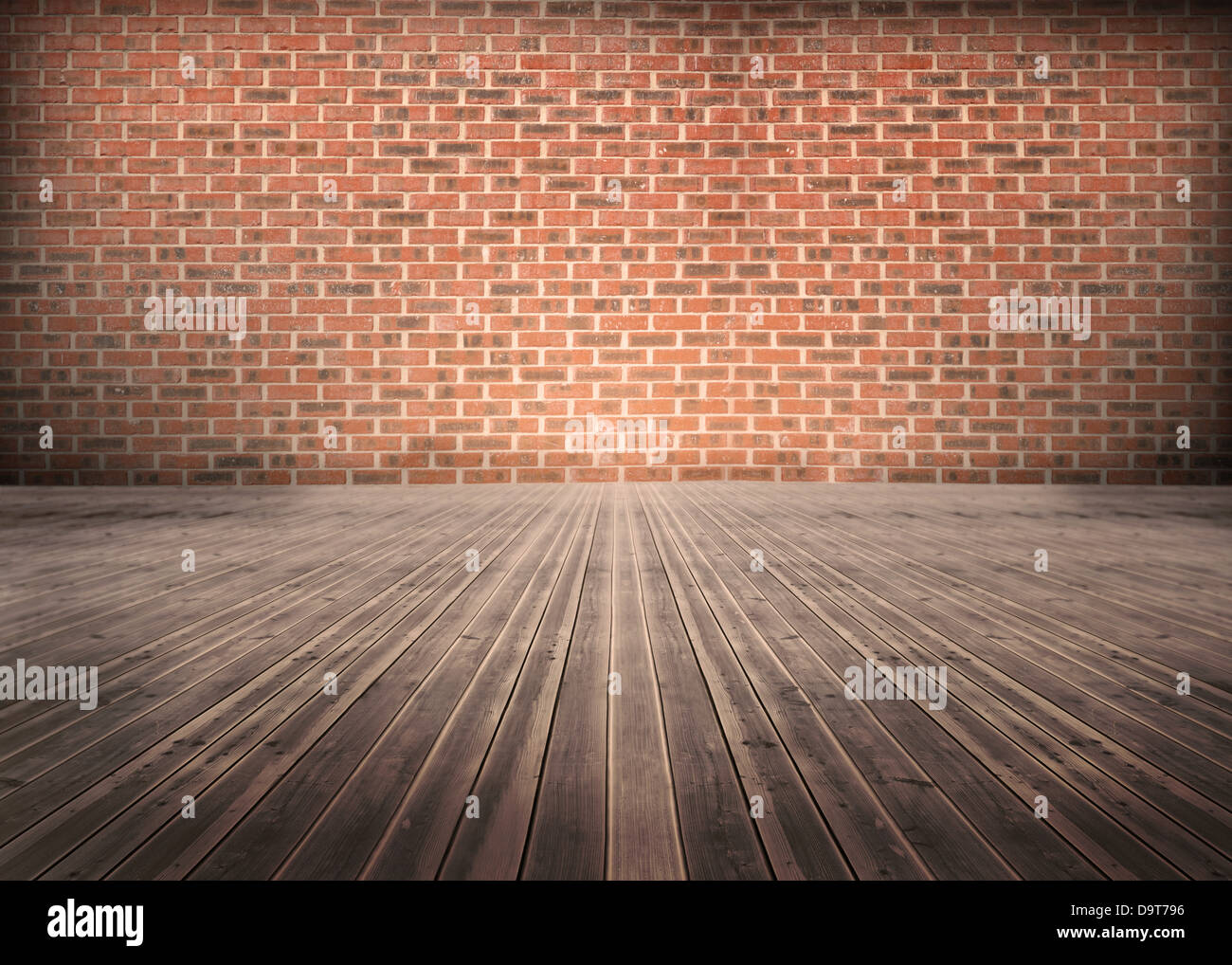Room of floorboards with bricks wall Stock Photo