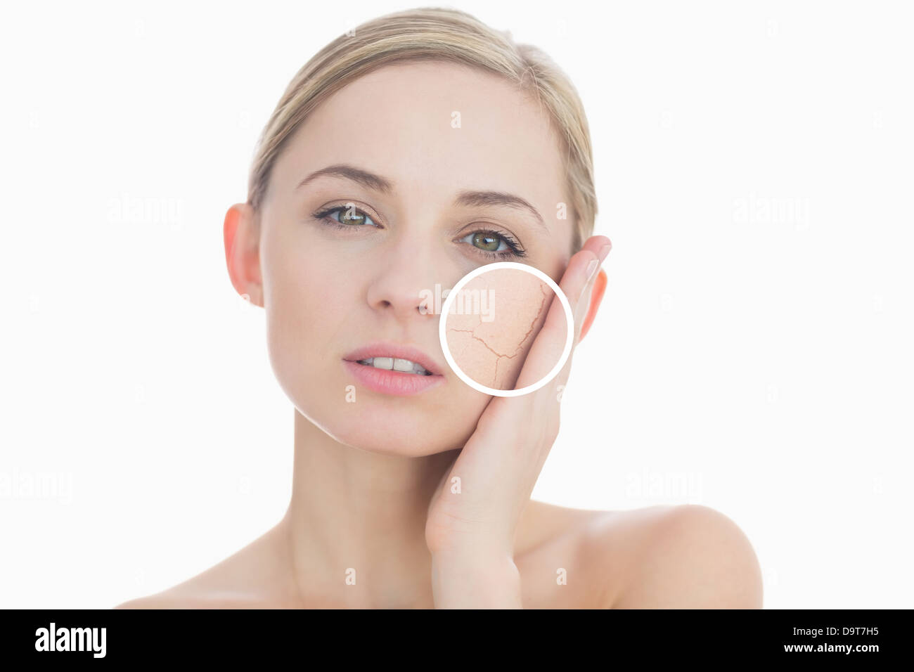 Pure woman touching her skin with close up of her wrinkles - Stock Image