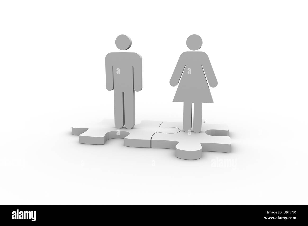 White human figures over jigsaw pieces meshed together - Stock Image