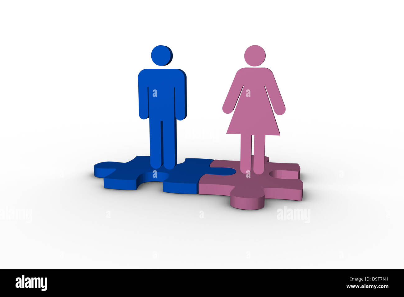 Blue and pink human figures over jigsaw pieces meshed together - Stock Image
