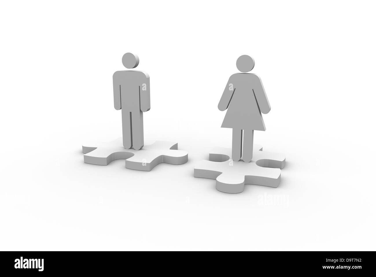 Human figures over jigsaw pieces separated - Stock Image