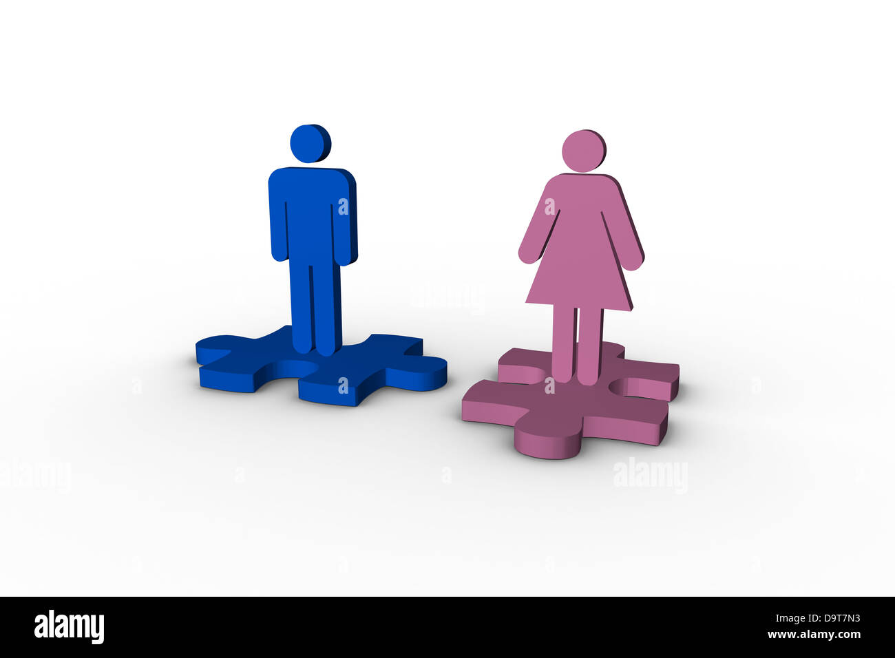 Blue and pink human figures over jigsaw pieces separated - Stock Image