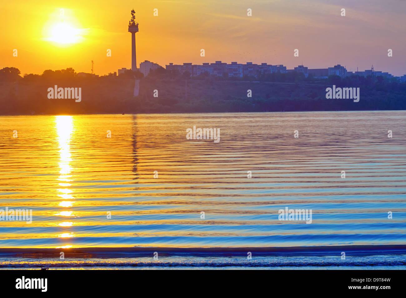 Sunset On Danube River Near Galati City