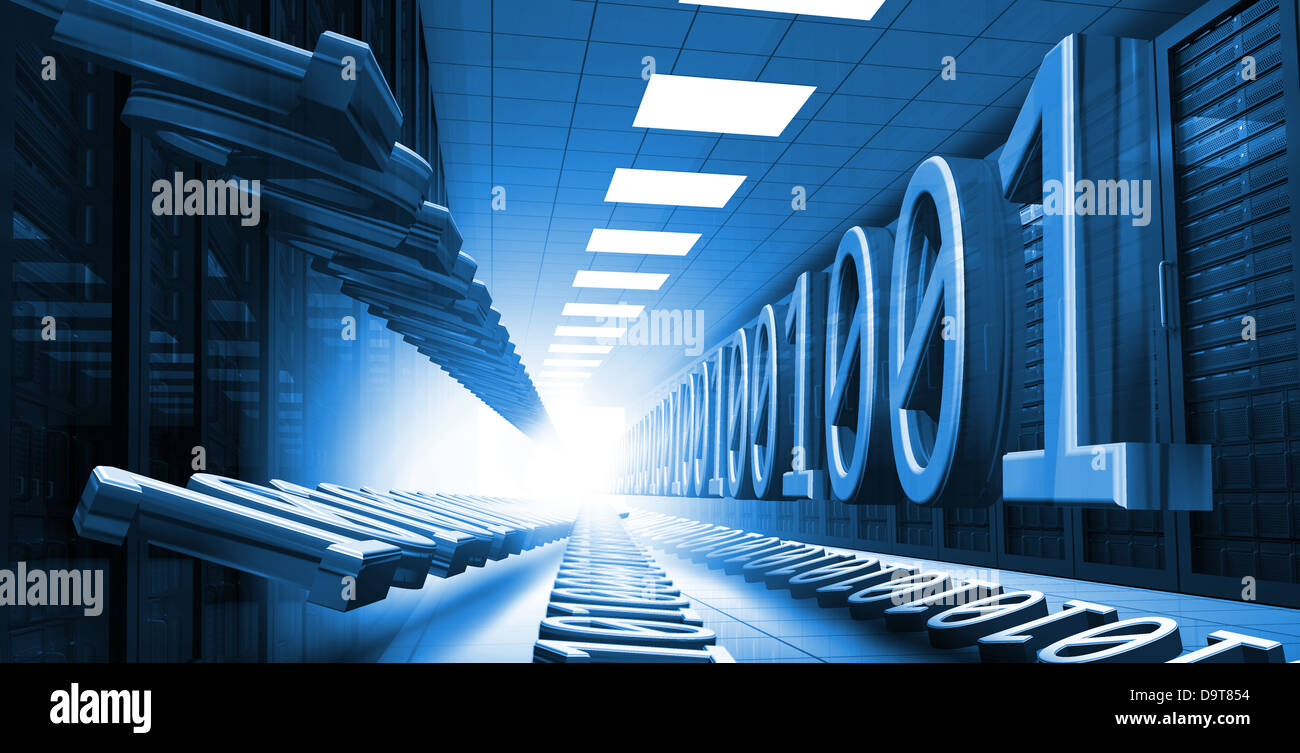 Blue binary code in data center hall leading to light - Stock Image