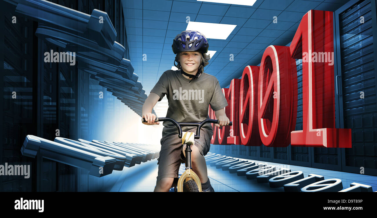 Child on bike in data center with binary code - Stock Image