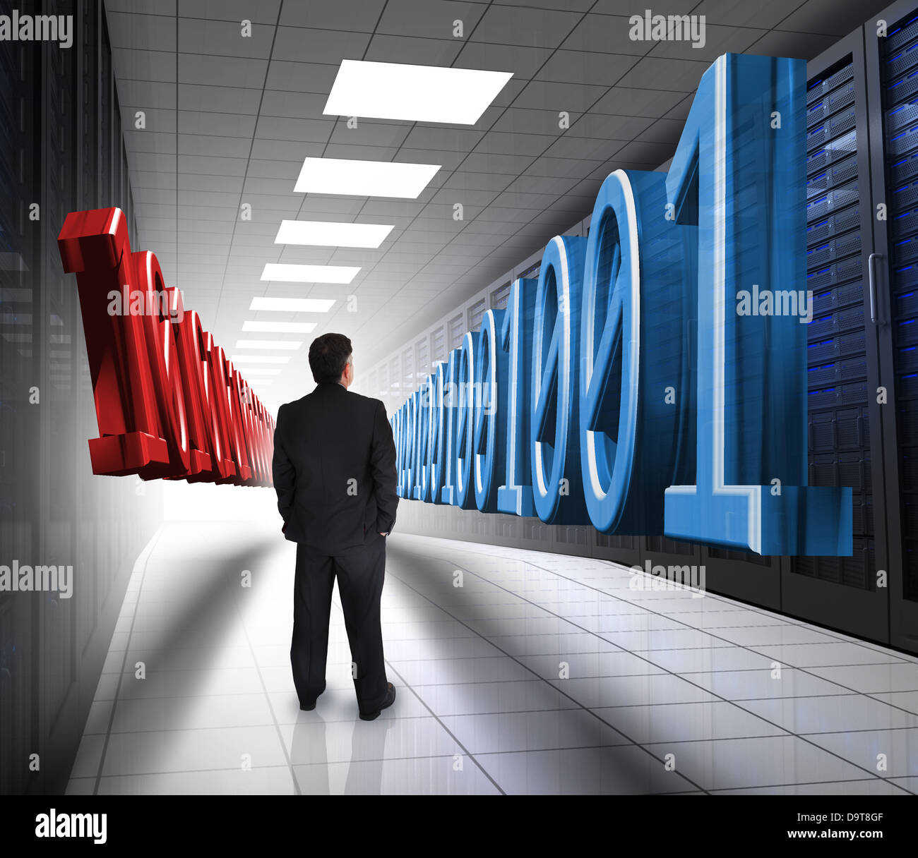 Businessman looking at 3d binary code in data center - Stock Image