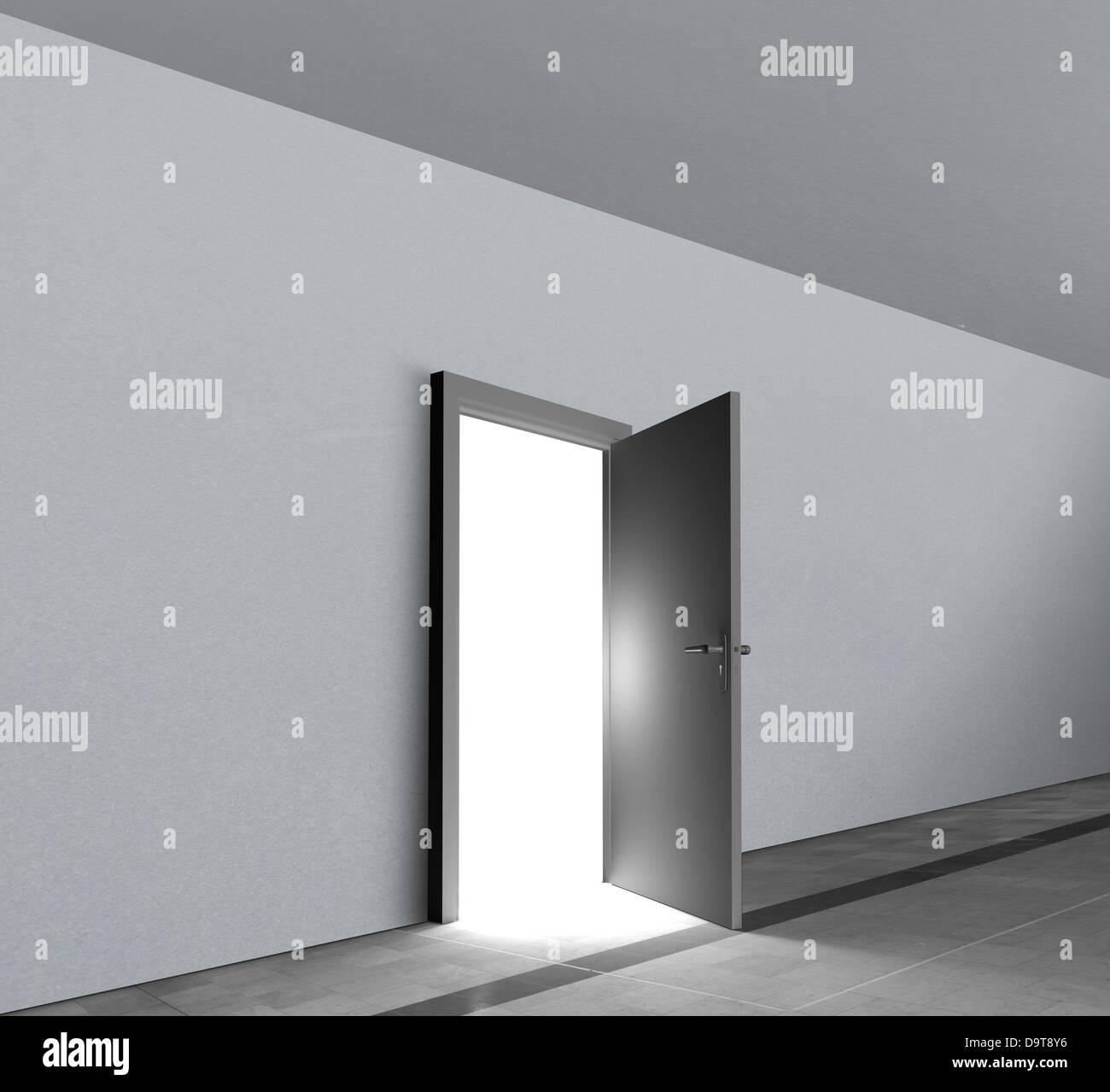 Door open showing bright white light shining - Stock Image
