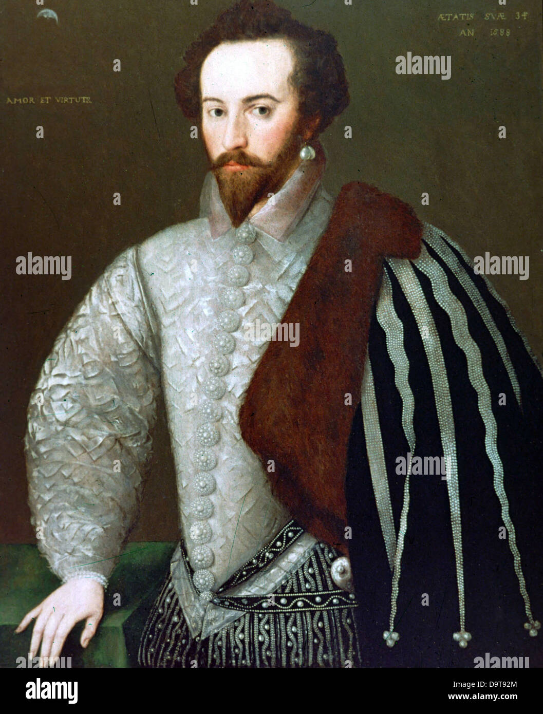 Federico Zuccaro Portrait of sir Walter Raleigh 1588 - Stock Image