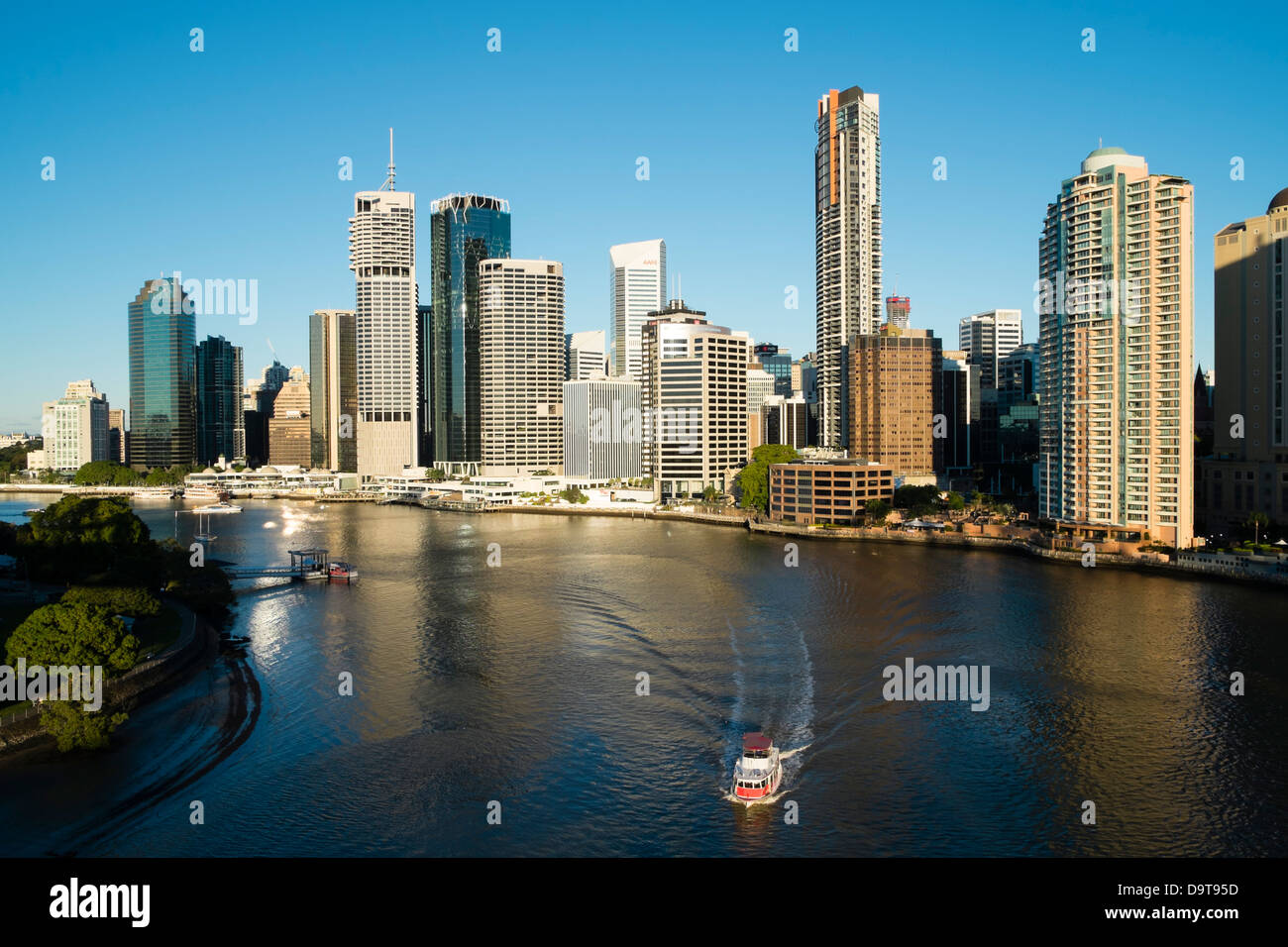 Early morning skyline of Central Business District of Brisbane in Queensland Australia - Stock Image