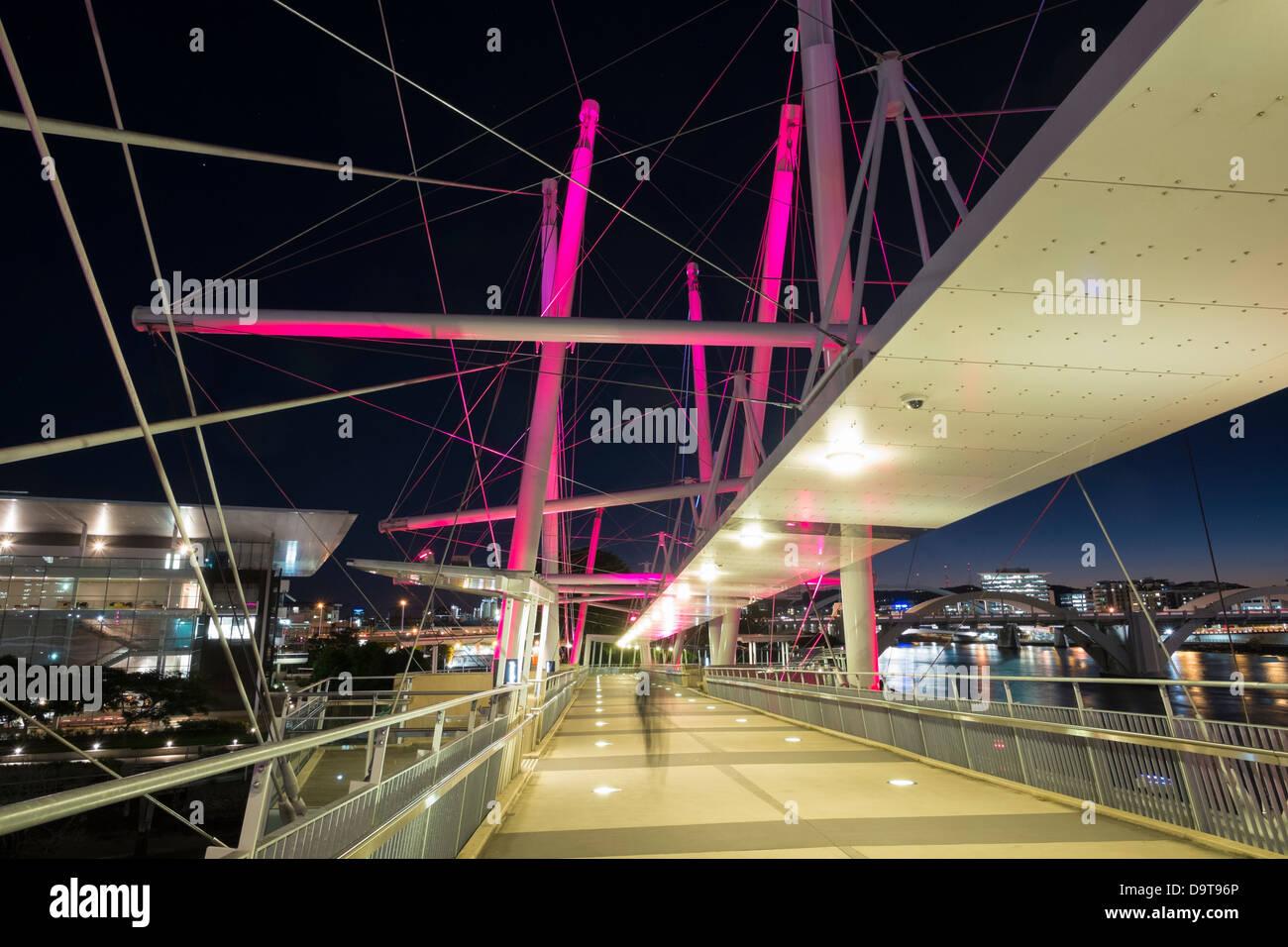 Modern Kurilpa bridge which is a footbridge crossing the Brisbane River in Brisbane Queensland Australia - Stock Image
