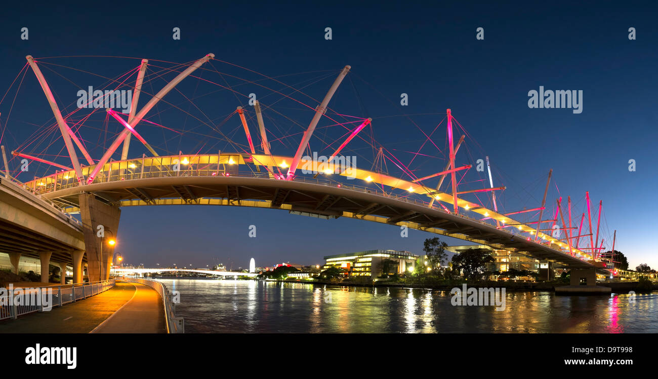 Modern Kurilpa bridge which is a footbridge crossing the Brisbane River in Brisbane Queensland Australia - Stock Image