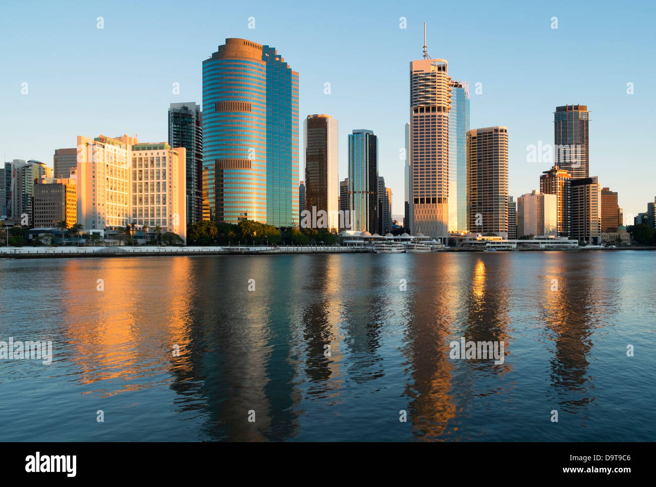 Dawn skyline of Central Business District of Brisbane in Queensland Australia - Stock Image