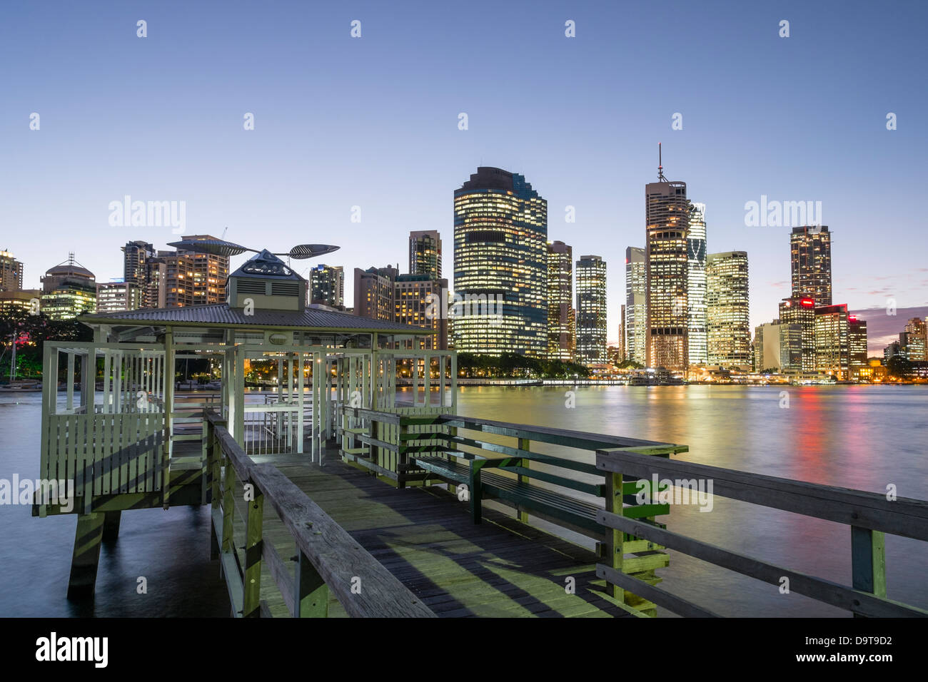 Evening skyline of Central Business District of Brisbane in Queensland Australia - Stock Image
