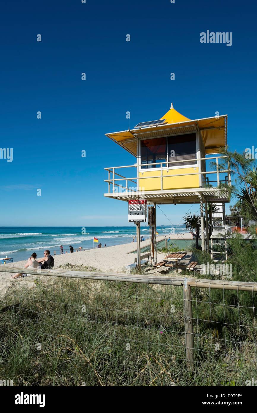 Lifeguard hut on beach at Surfers Paradise