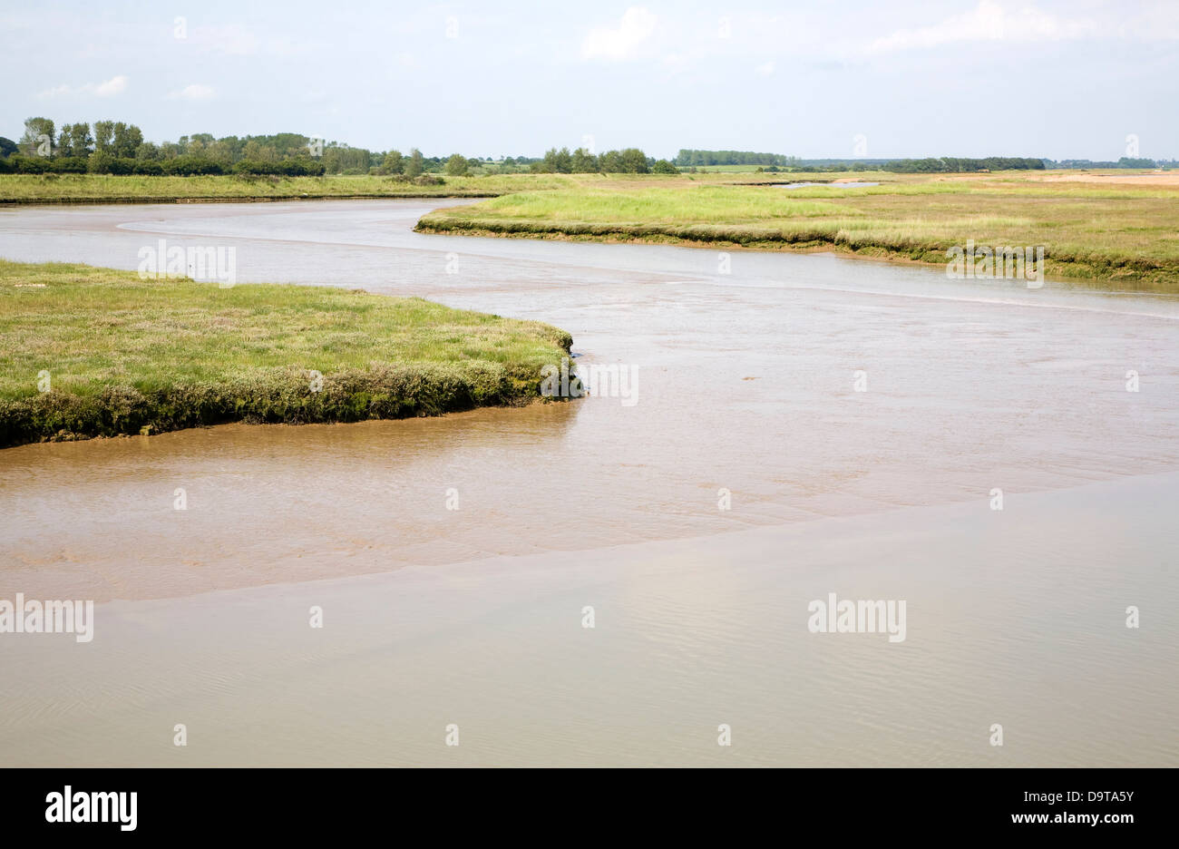 Tidal creek and saltings River Ore tributary Shingle Street Suffolk England Stock Photo