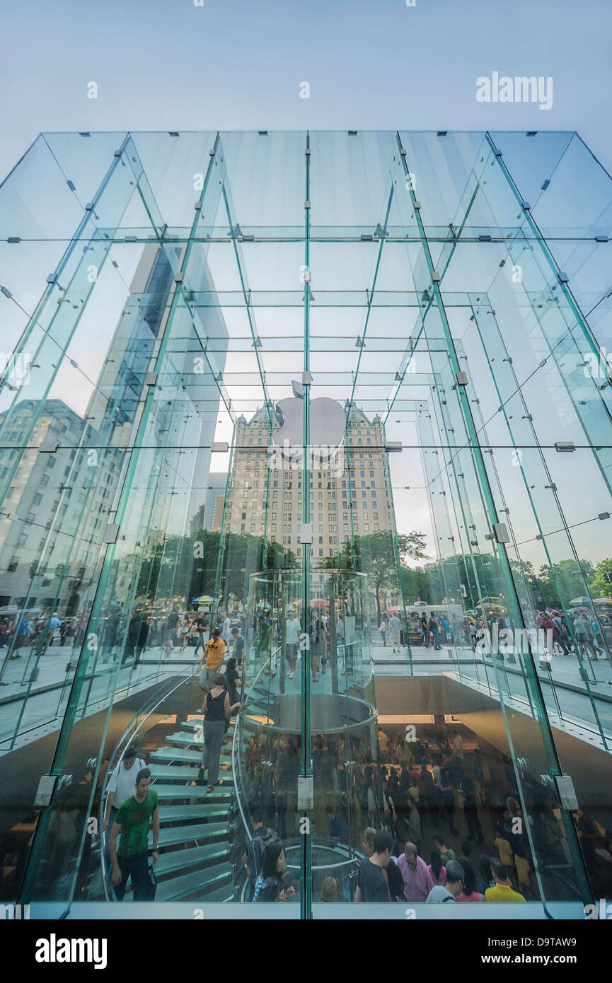 The glass cube over the Apple computer store in New York City. Stock Photo
