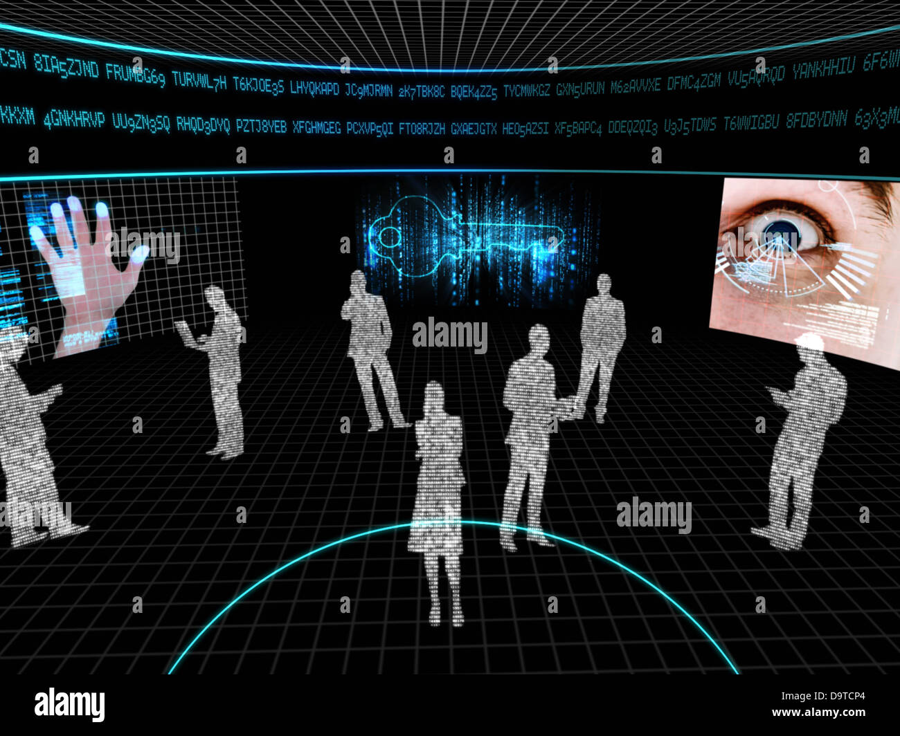 Silhouettes made of computer data with display screens - Stock Image