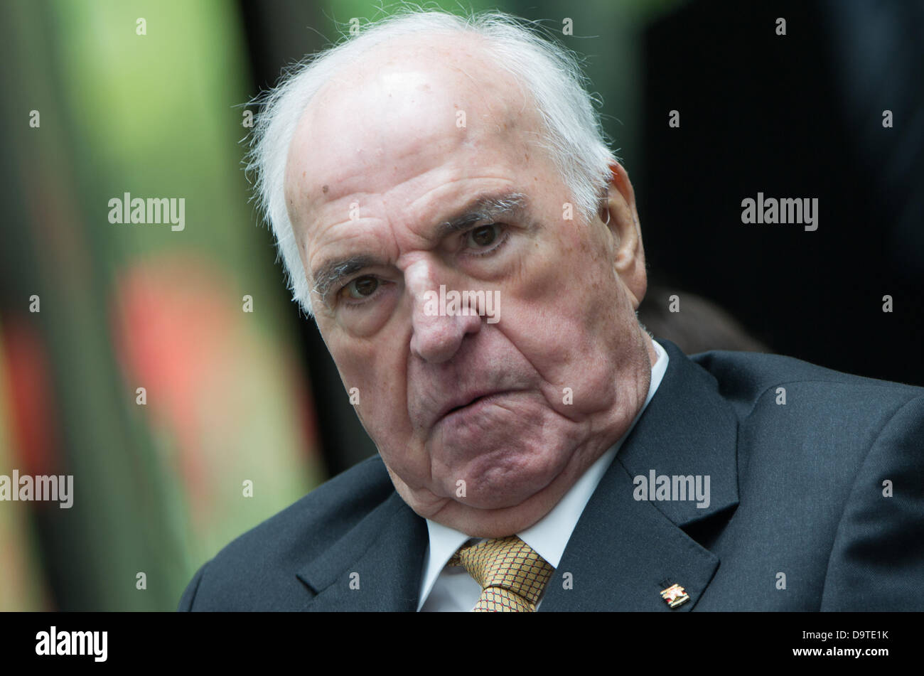 Berlin, Germany. 26th June 2013. Former German Chancellor Helmut Kohl talks during the unveiling of the monument - Stock Image