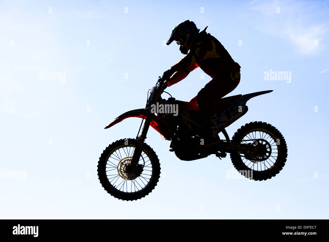 Airtime rider Whitby Motocross, North Yorkshire - Stock Image