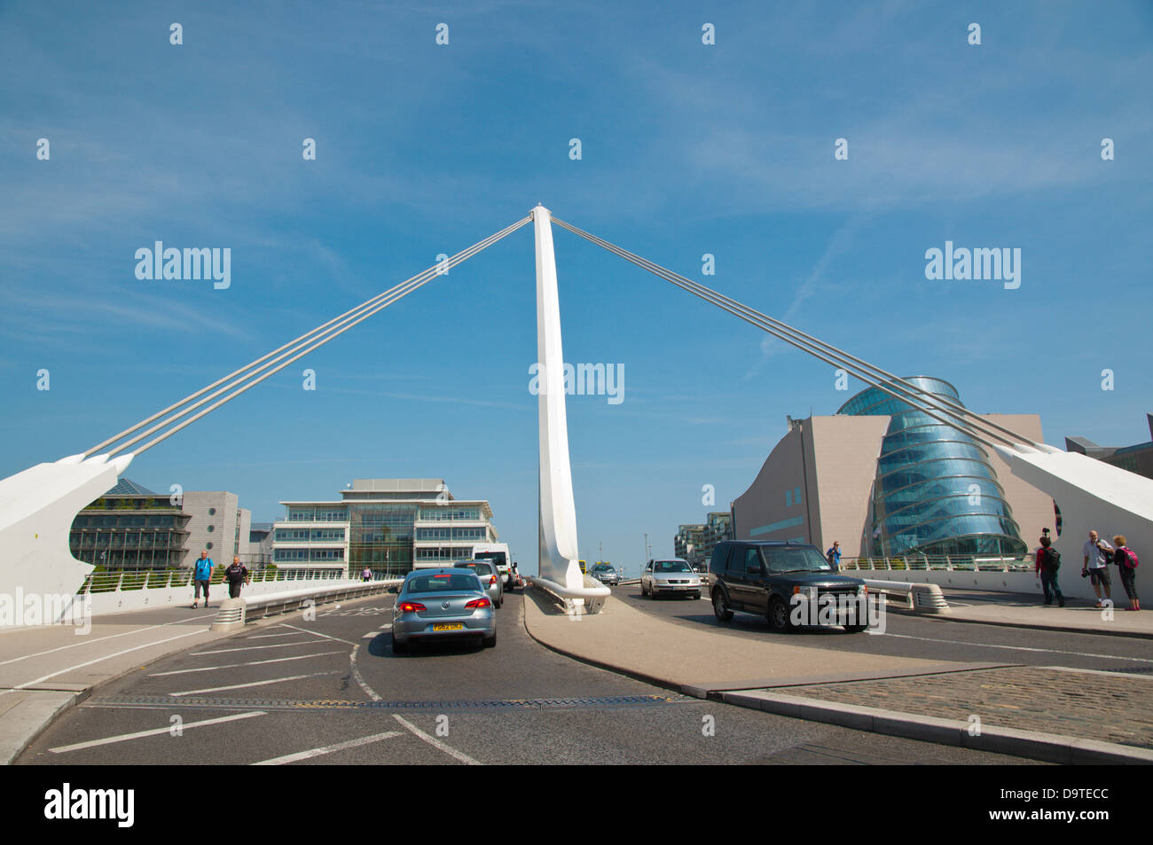 Samuel Beckett bridge (2009) Docklands former harbour area by River Liffey central Dublin Ireland Europe - Stock Image