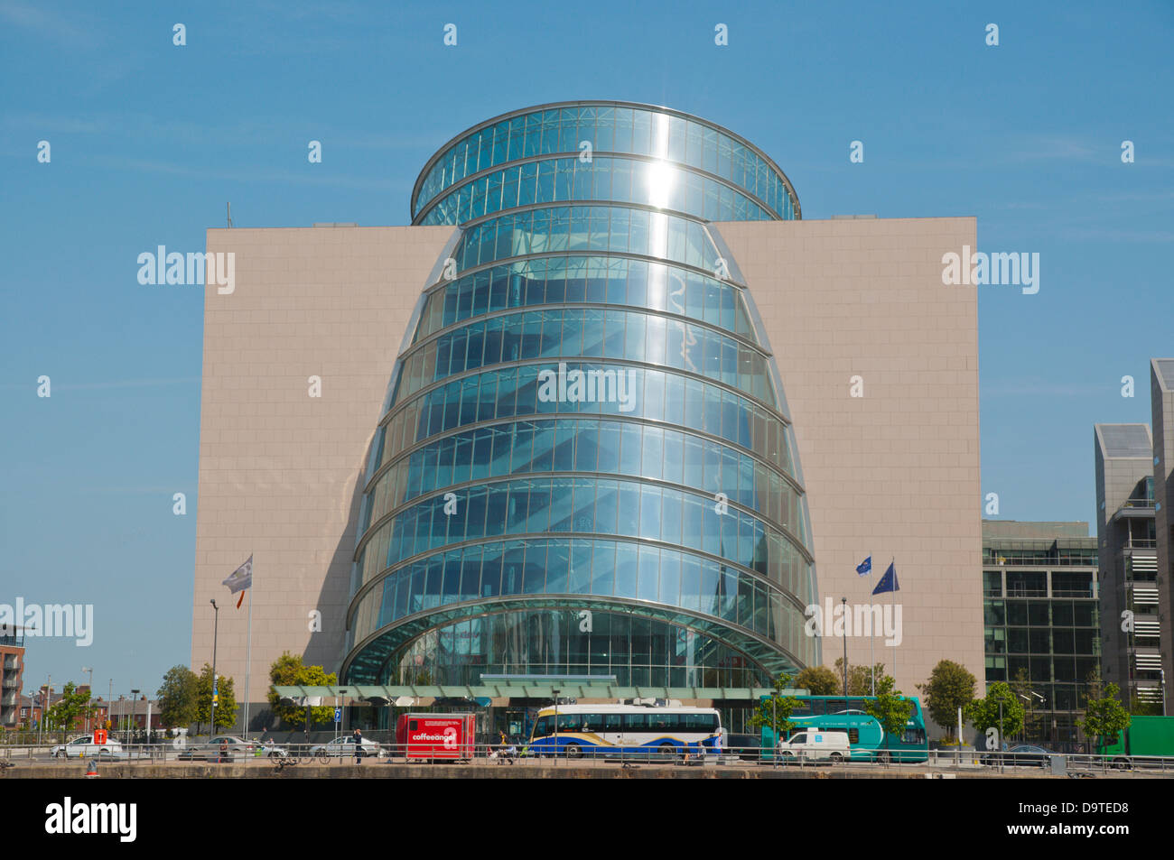 Convention centre Docklands former harbour area by River Liffey central Dublin Ireland Europe - Stock Image