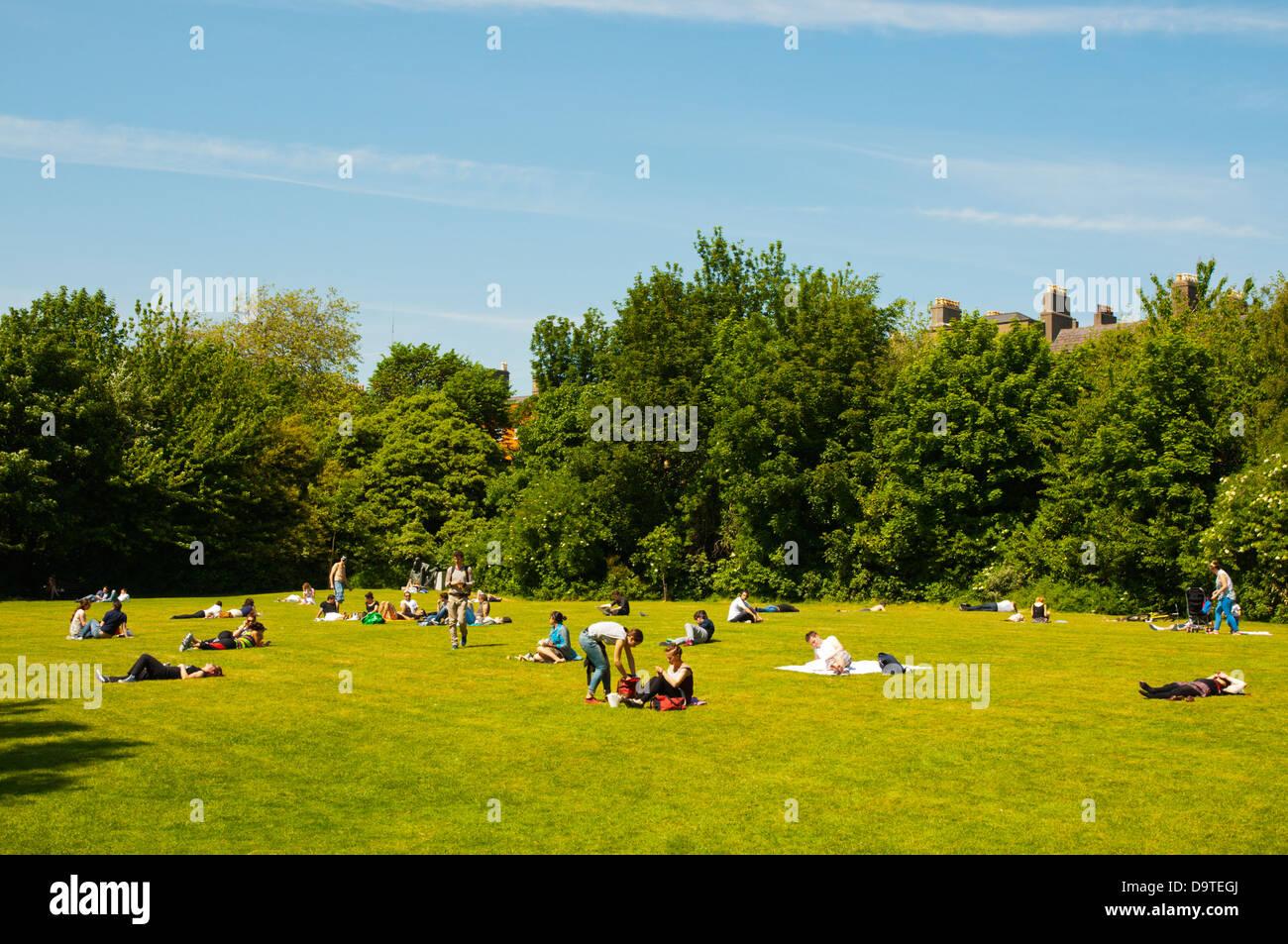 Merrion Square Park central Dublin Ireland Europe - Stock Image