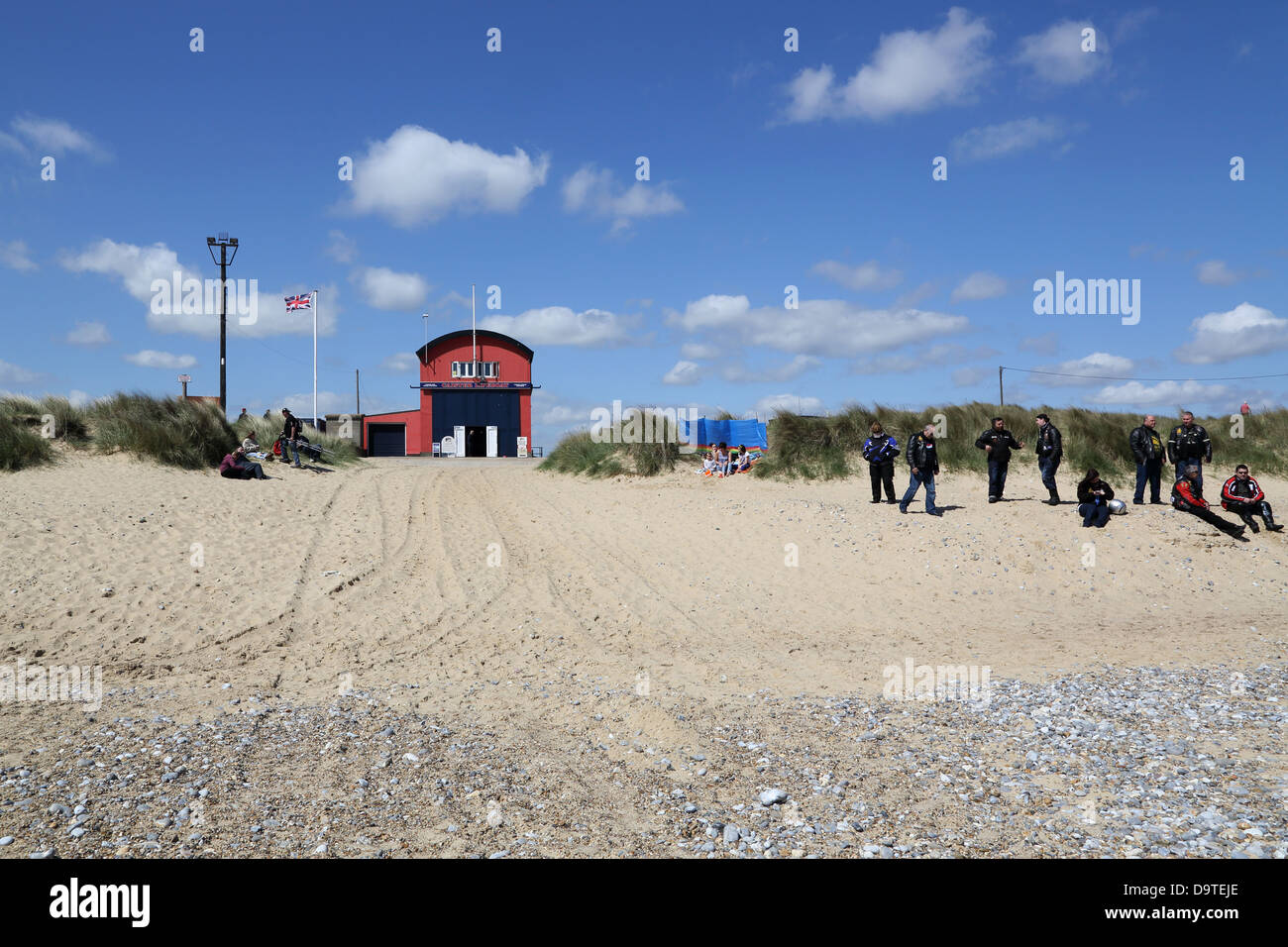 caister lifeboat and launch vehicles on the norfolk coast Stock Photo