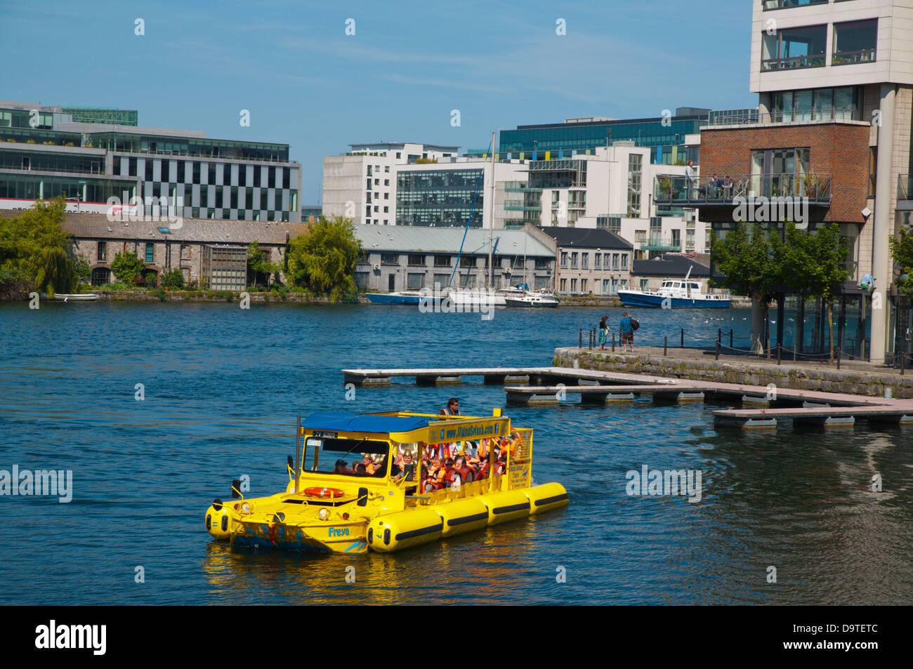 Amphibious Viking Splash Tour boat bus Grand Canal Docks in Docklands former harbour area central Dublin Ireland - Stock Image