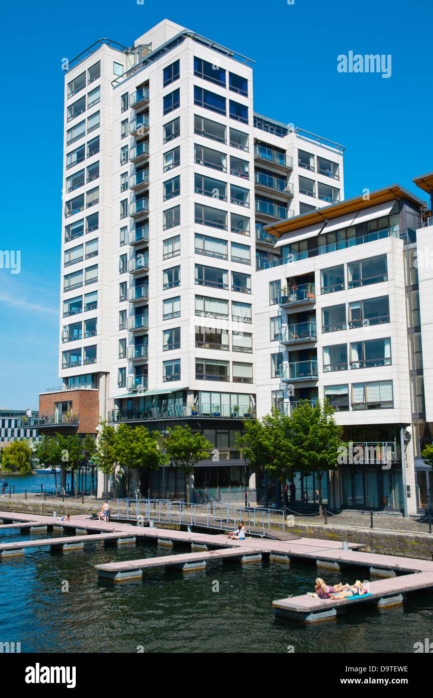 Millenium tower (1998) and other residential buildings by Grand Canal Docks in Docklands former harbour area central - Stock Image