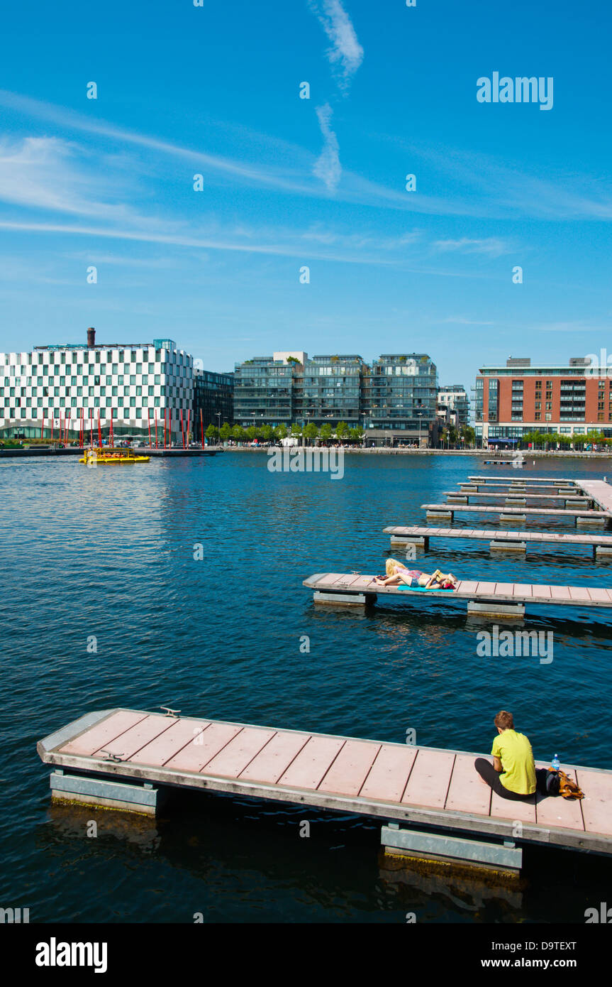 Grand Canal Docks in Docklands former harbour area central Dublin Ireland Europe - Stock Image