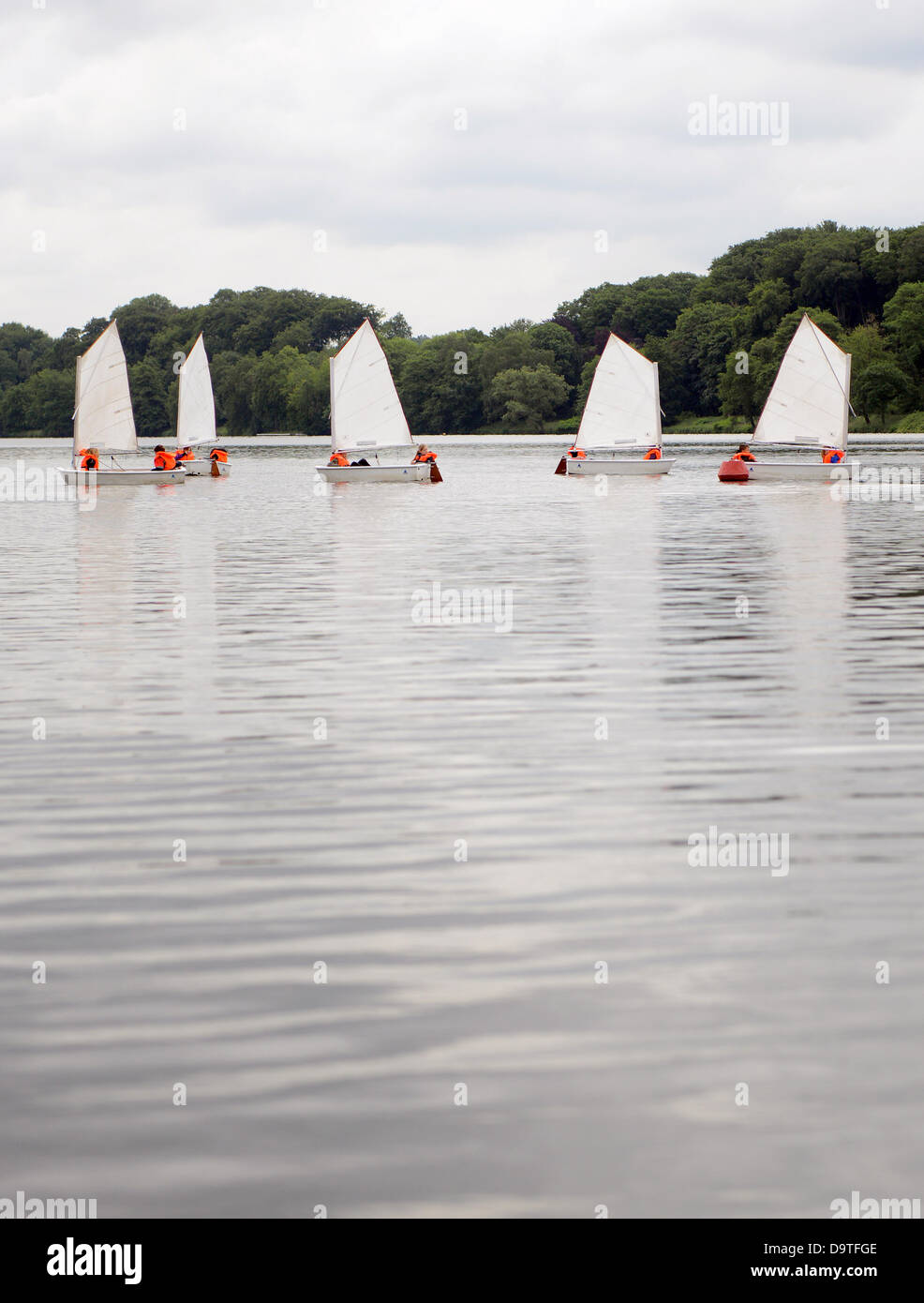 Children sit in sailing boats which are also called optimists on Baldeney lake in Essen, Germany, 25 June 2013. - Stock Image