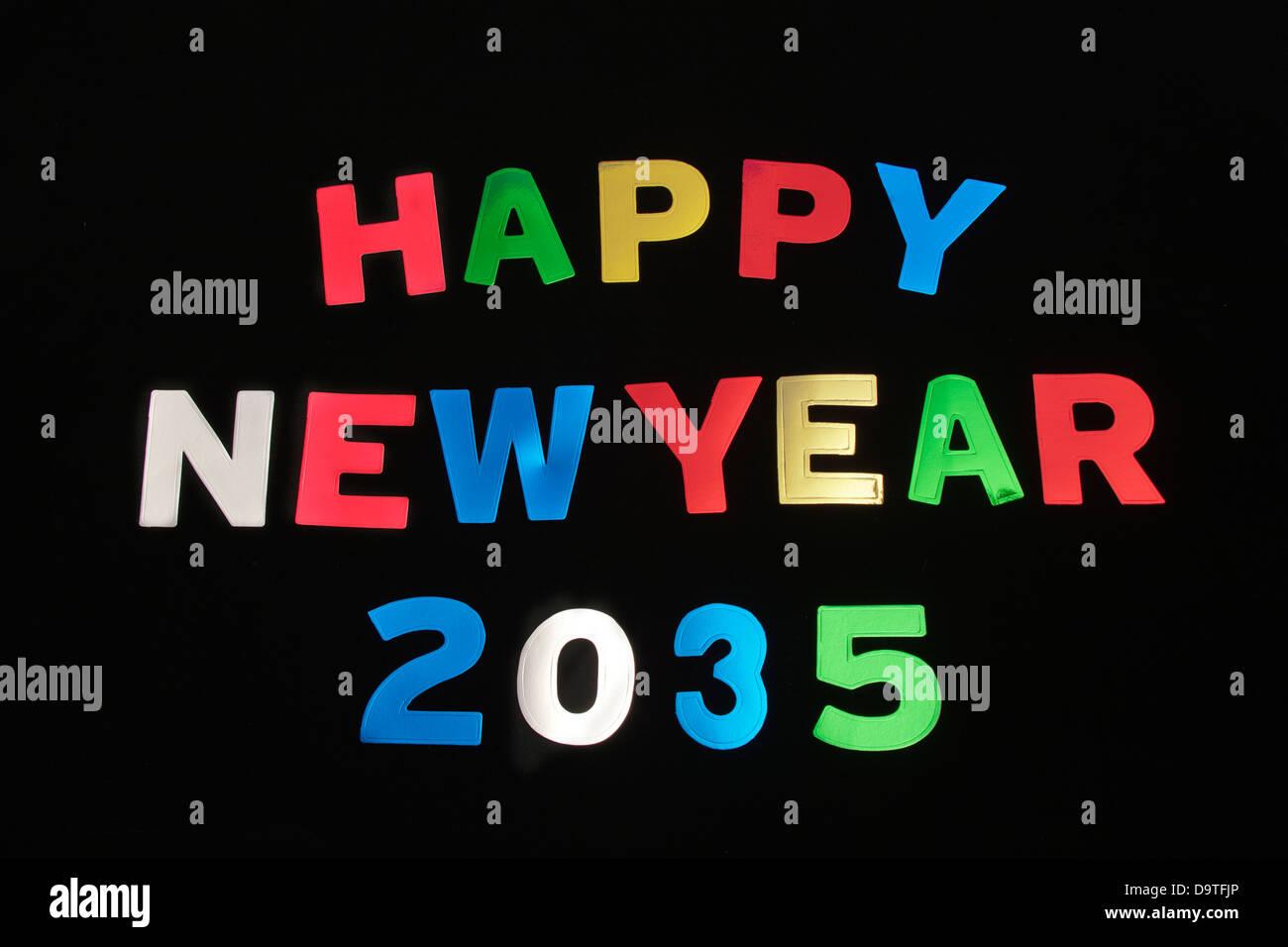 HAPPY NEW YEAR 2035Stock Photo