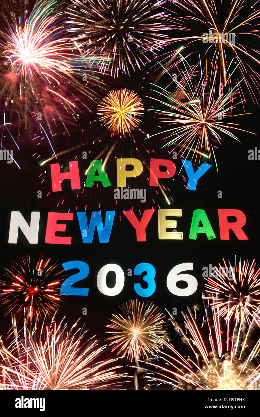 HAPPY NEW YEAR 2036Stock Photo