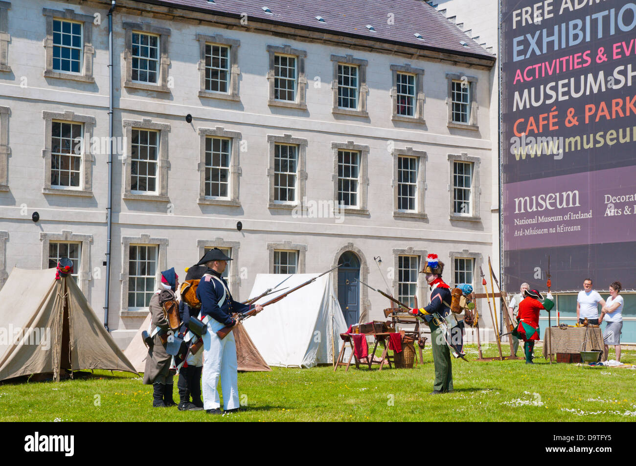 Historical army exhibition outside National museum of decorative arts and history Dublin Ireland Europe - Stock Image