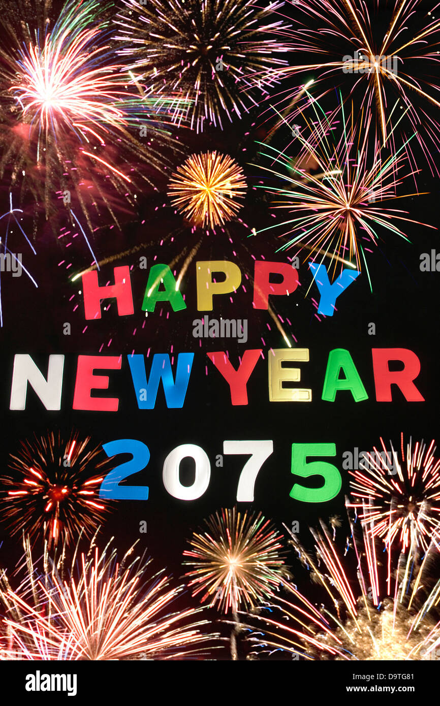 HAPPY NEW YEAR 2075Stock Photo