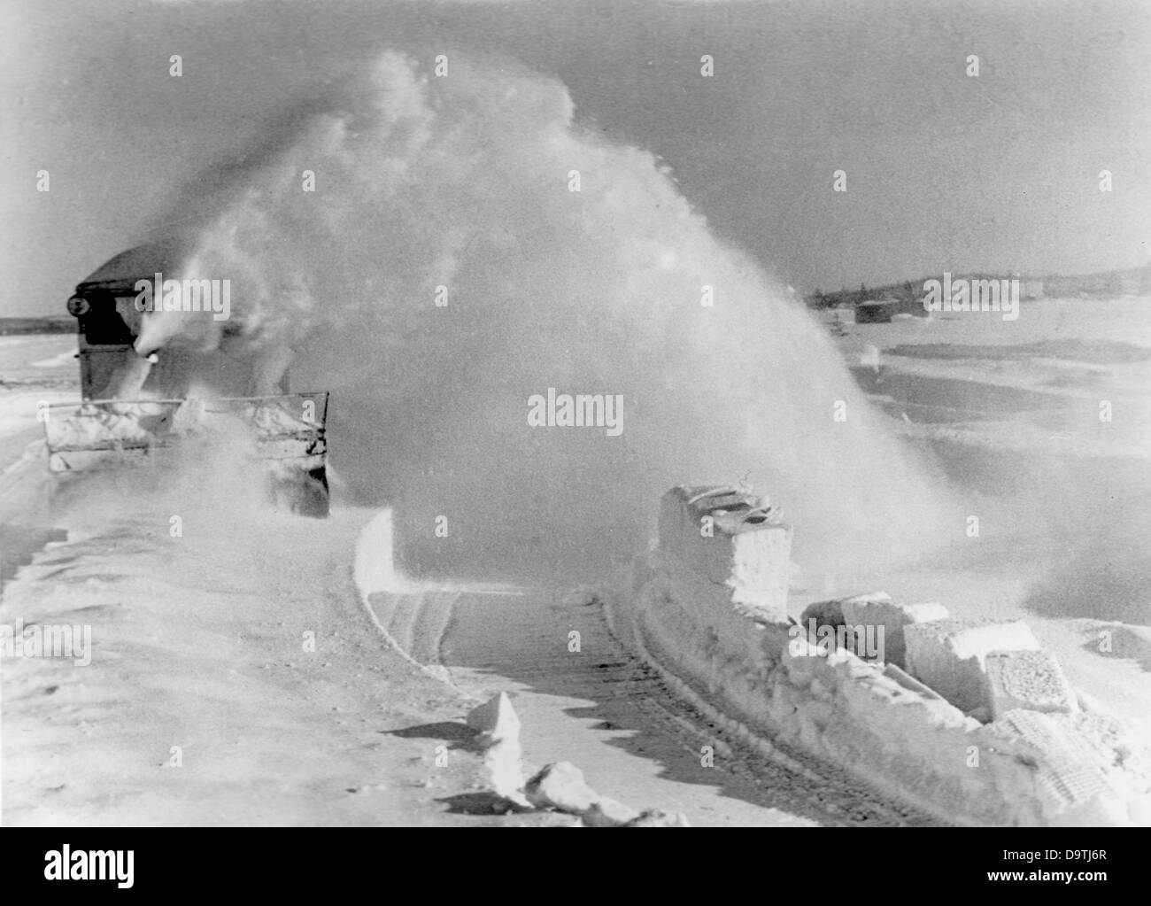 The Nazi Propaganda! on the back of the image reads: 'Snow melts at the Kandalaksha Front. In the course of - Stock Image