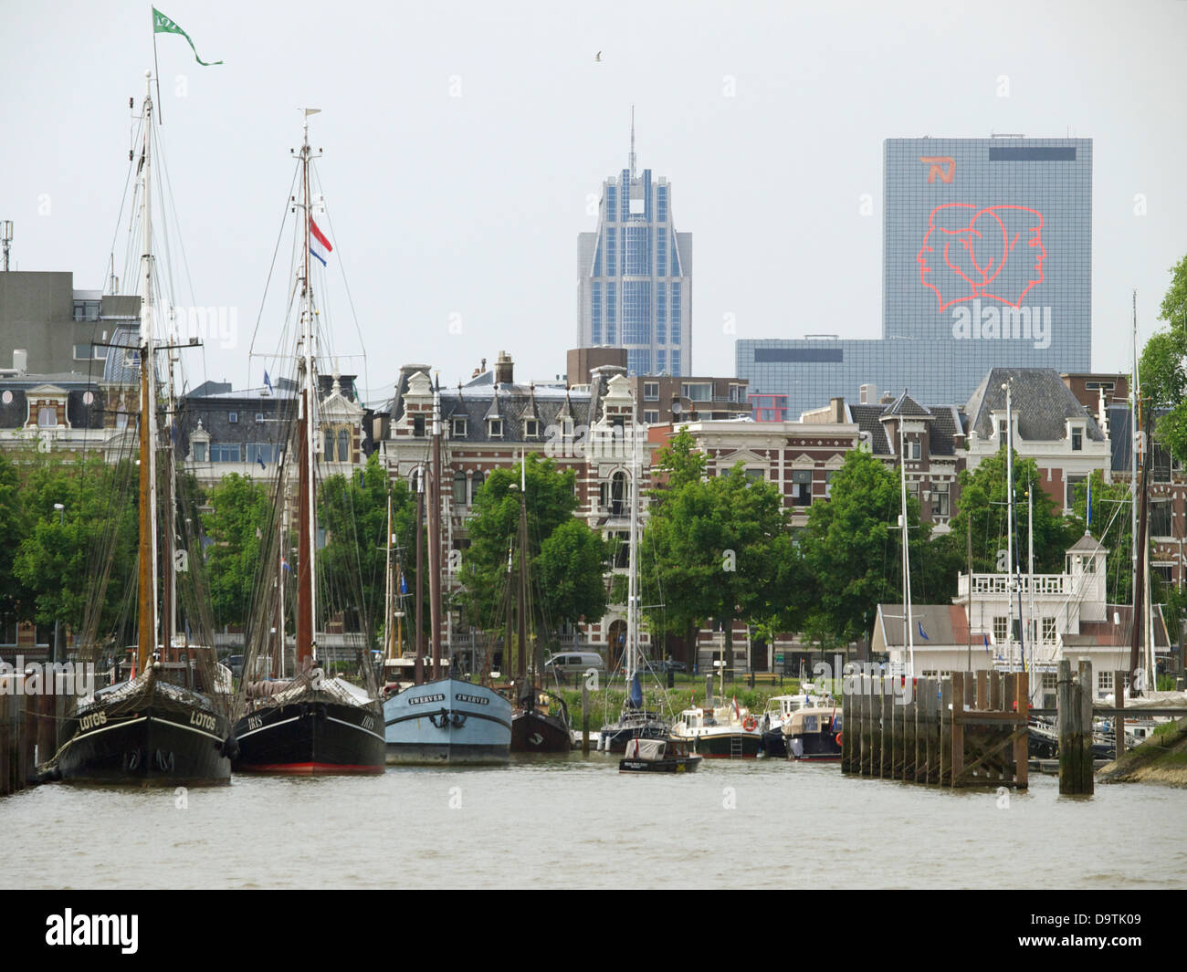 Vintage sailing ships and yachts in the city centre of Rotterdam, the Netherlands - Stock Image