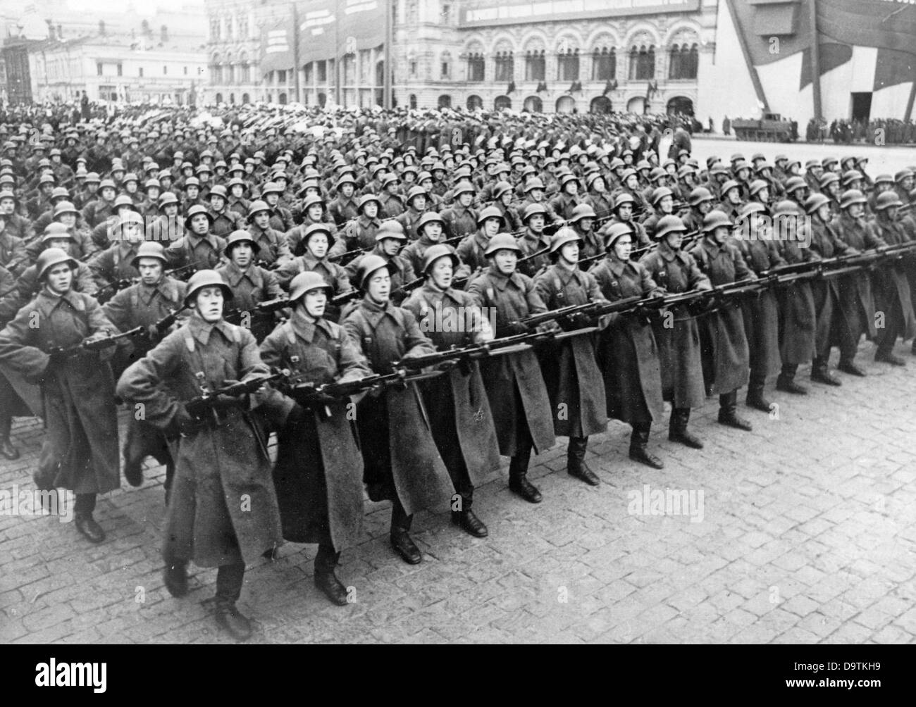 View of a parade of the Red Army on Red Square in Moscow in the Soviet Union. Date unknown. The Nazi Propaganda! - Stock Image