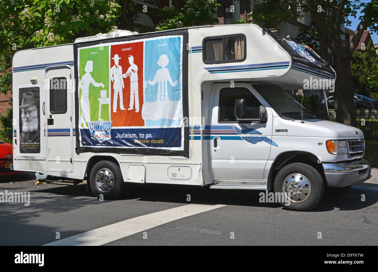 A Lubavtich sponsored Mitzvah Tank parked in the Crown Heights section of Brooklyn, New York. - Stock Image