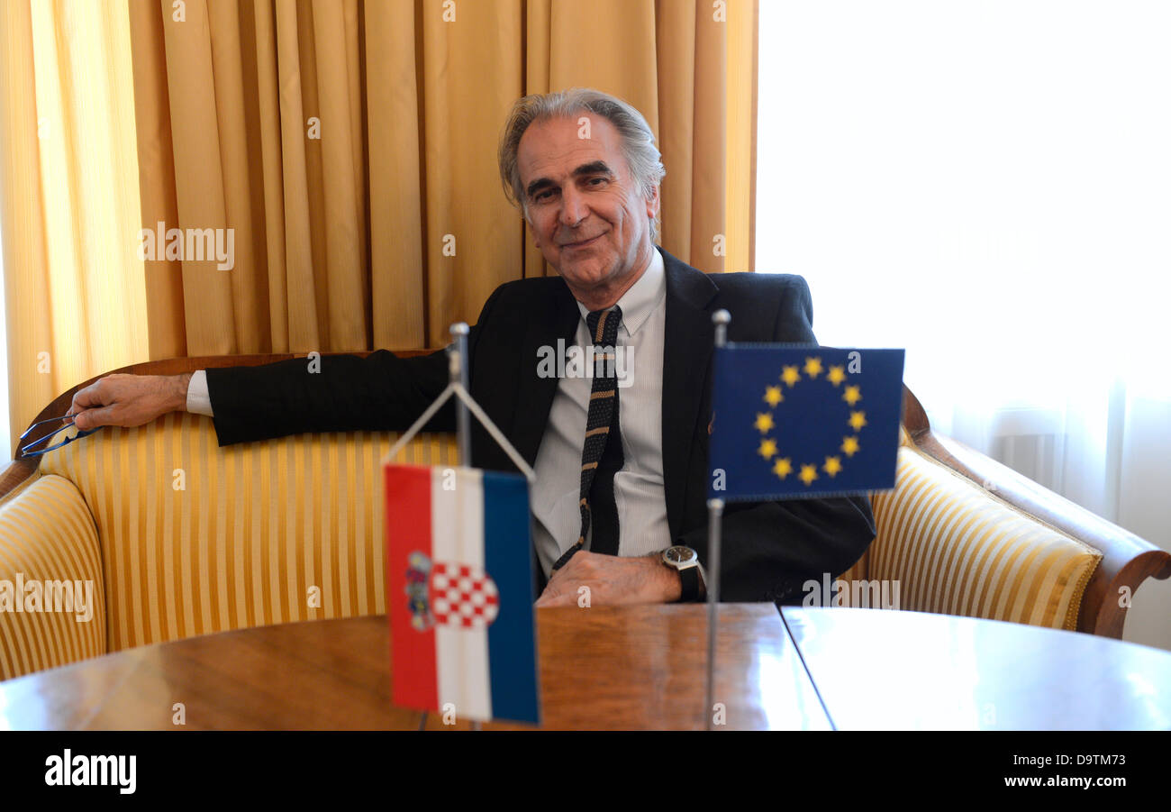 Croatian Ambassador to the Czech Republic Frane Krnic, Prague, Czech Republic on June 24, 2013. Krnic in an interview - Stock Image