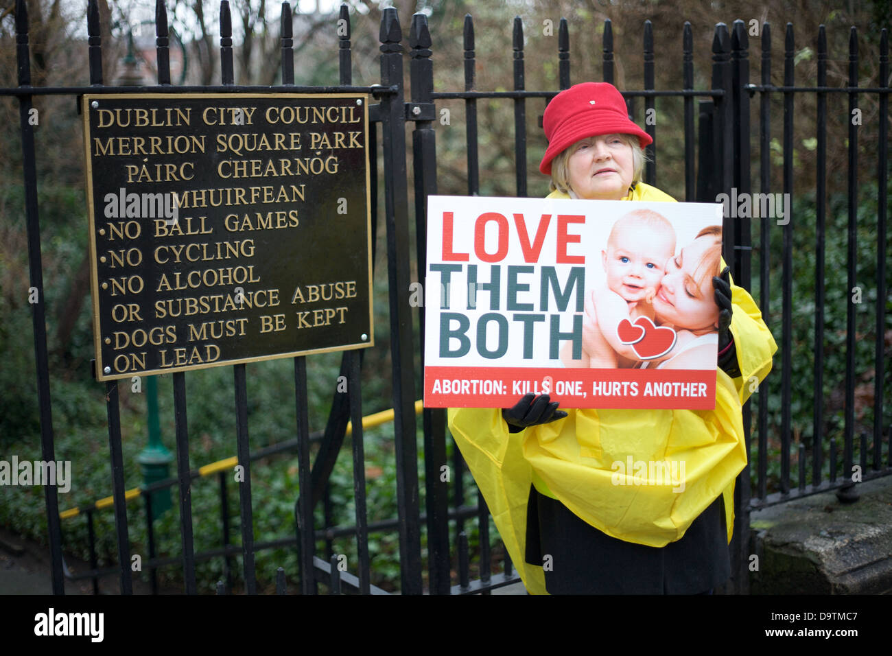 Pro Life protester in Dublin city Ireland - Stock Image