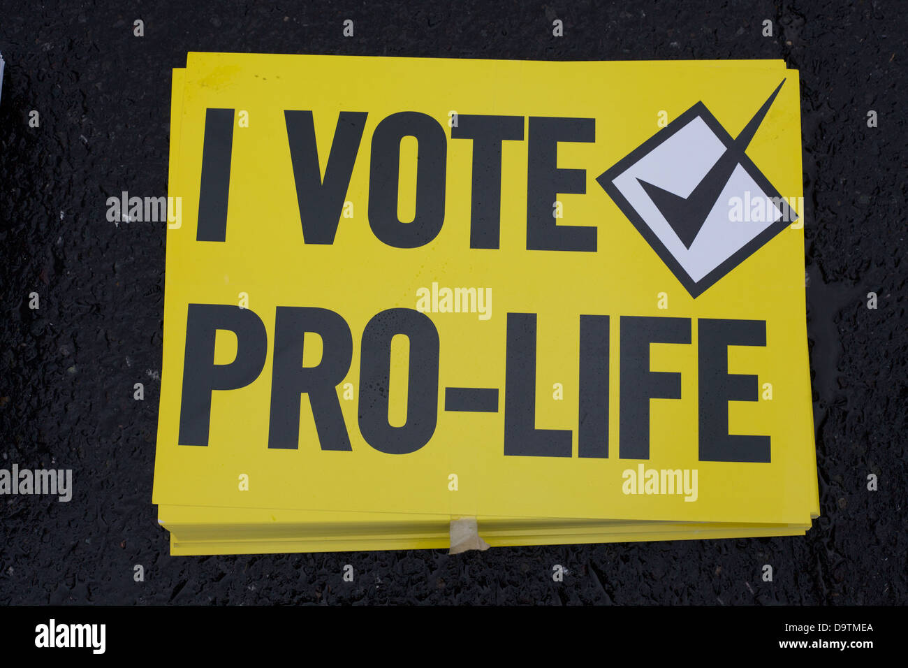 Pro Life protest placard in Dublin city Ireland - Stock Image