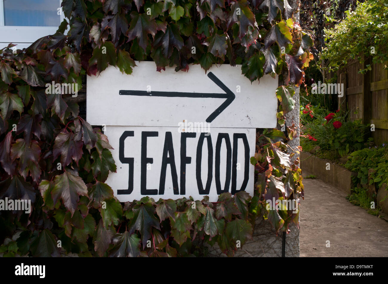 Sign saying seafood outside a restaurant in Morthoe, North Devon, England - Stock Image