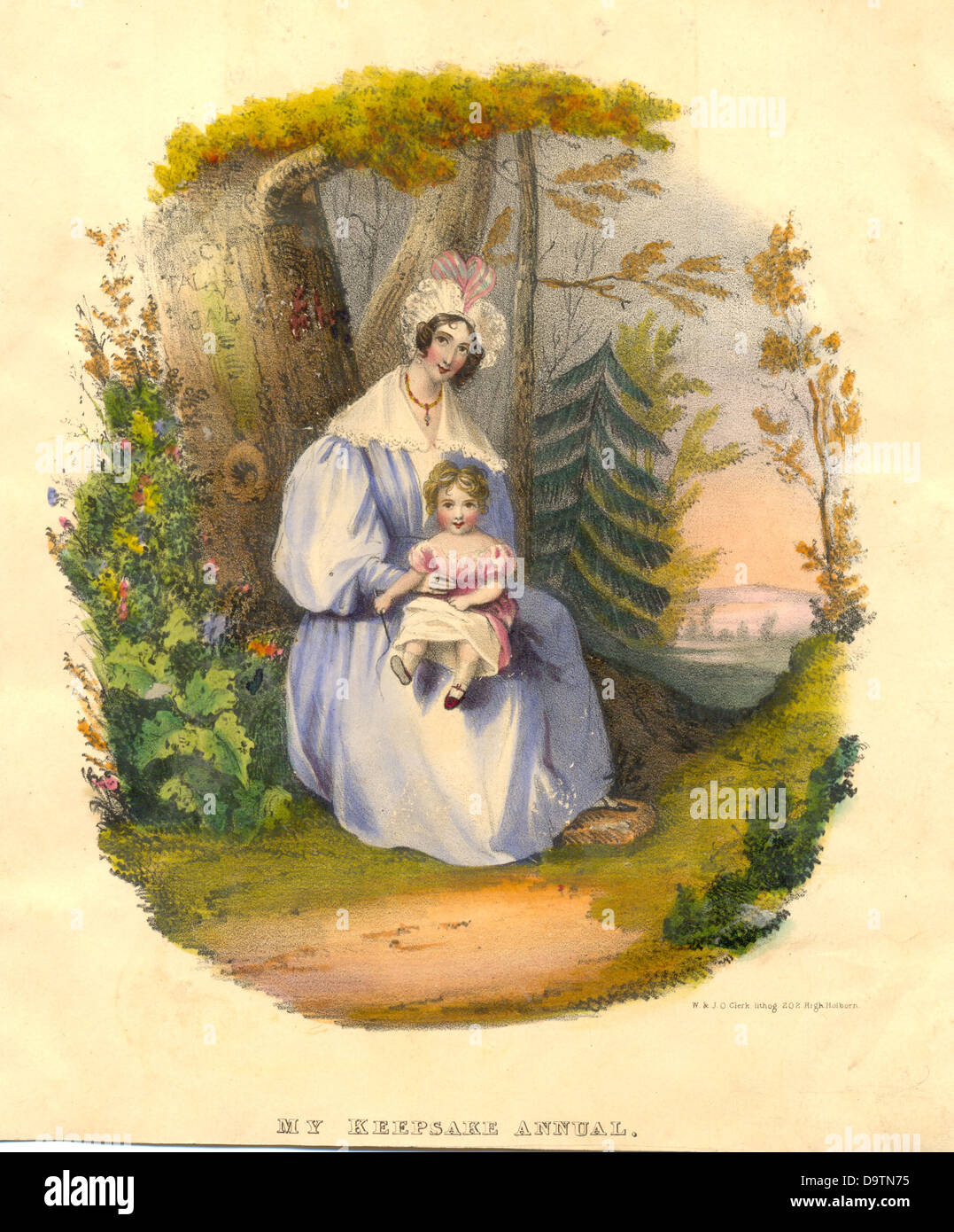 Hand coloured lithograph of Keepsake Annual frontispiece - Stock Image