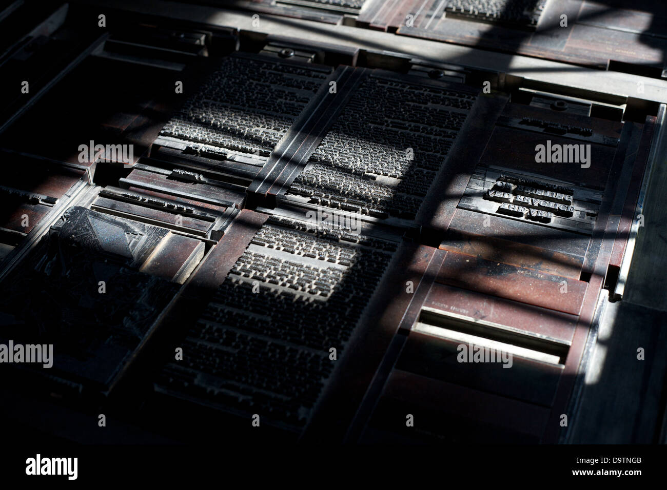 A close up shot of a vintage letterpress printing type. - Stock Image