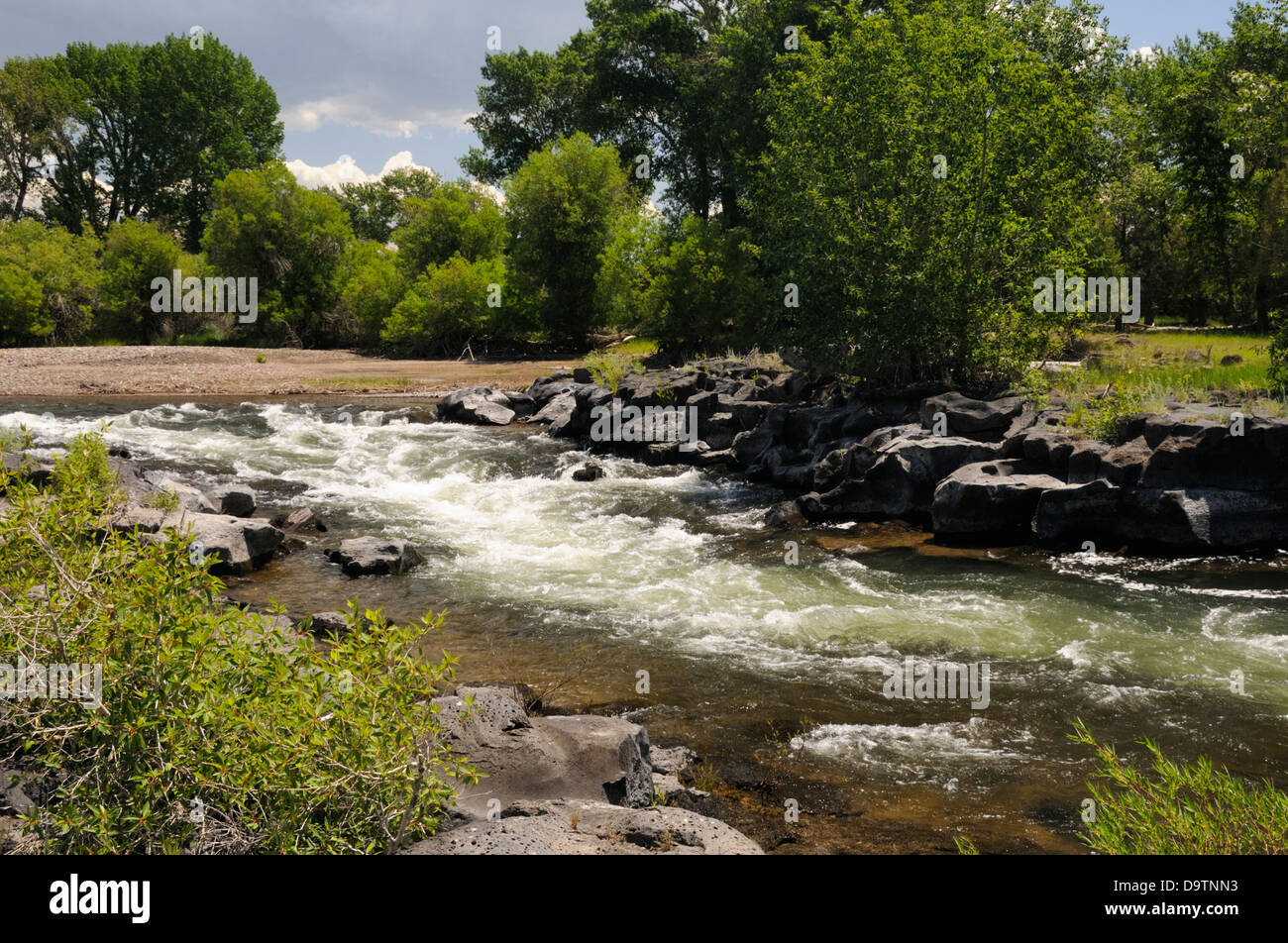 River rushes past rocky riverbank. - Stock Image