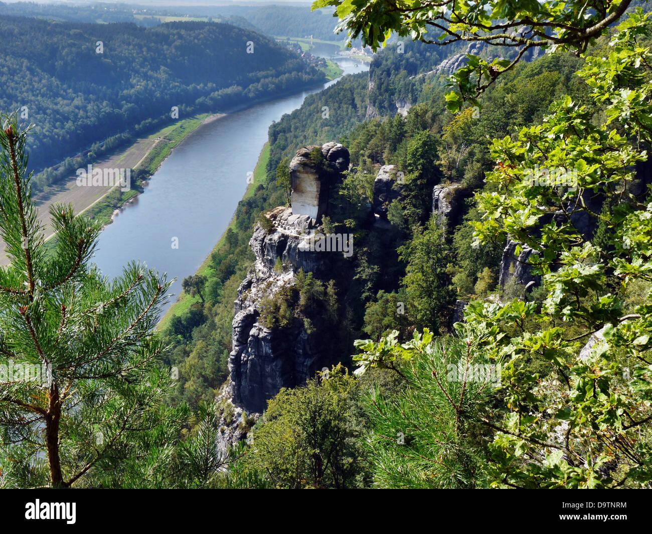 view of the bastei to the elbe saxon switzerland - Stock Image